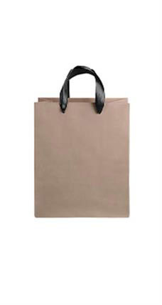 Medium Kraft Premium Folded Top Paper Bags Black Ribbon Handles