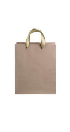 Medium Kraft Premium Folded Top Paper Bags Gold Ribbon Handles