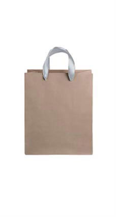 Medium Kraft Premium Folded Top Paper Bags Silver Ribbon Handles