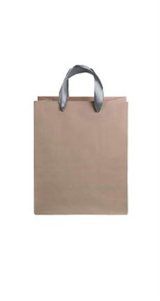 Medium Kraft Premium Folded Top Paper Bags Dark Gray Ribbon Handles