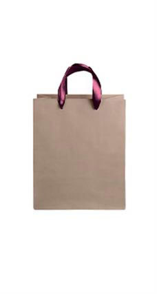 Medium Kraft Premium Folded Top Paper Bags Maroon Ribbon Handles