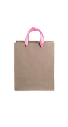 Medium Kraft Premium Folded Top Paper Bags Light Pink Ribbon Handles