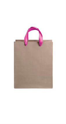 Medium Kraft Premium Folded Top Paper Bags Hot Pink Ribbon Handles