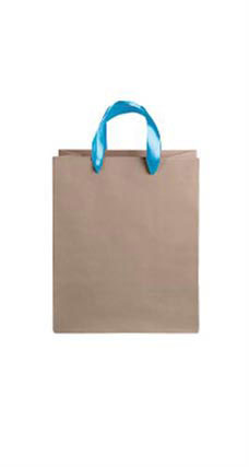 Medium Kraft Premium Folded Top Paper Bags Light Blue Ribbon Handles