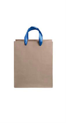 Medium Kraft Premium Folded Top Paper Bags Royal Blue Ribbon Handles