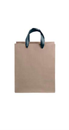 Medium Kraft Premium Folded Top Paper Bags Navy Ribbon Handles