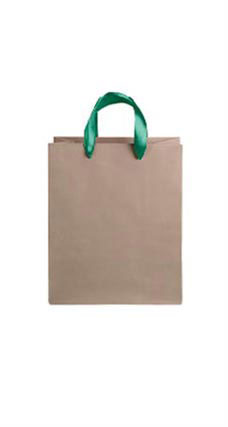 Medium Kraft Premium Folded Top Paper Bags Dark Green Ribbon Handles