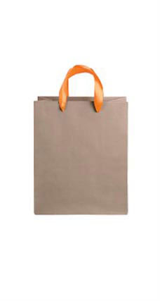 Medium Kraft Premium Folded Top Paper Bags Orange Ribbon Handles