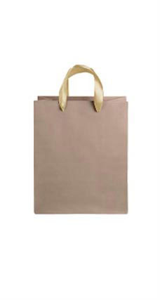 Medium Kraft Premium Folded Top Paper Bags Light Gold Ribbon Handles