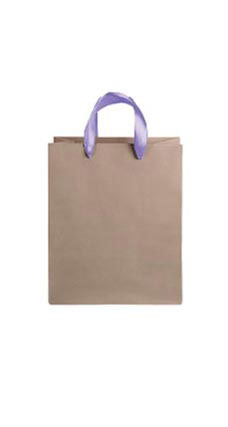 Medium Kraft Premium Folded Top Paper Bags Purple Ribbon Handles