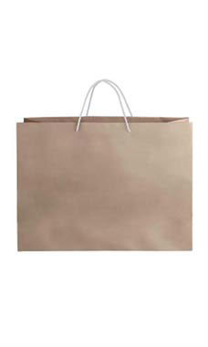 Large Kraft Premium Folded Top Paper Bags White Rope Handles
