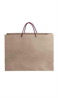 Large Kraft Premium Folded Top Paper Bags Maroon Rope Handles