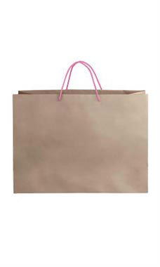 Large Kraft Premium Folded Top Paper Bags Light Pink Rope Handles