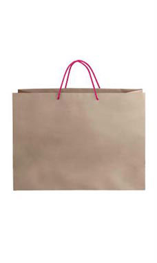 Large Kraft Premium Folded Top Paper Bags Hot Pink Rope Handles