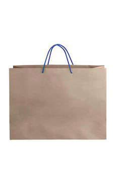 Large Kraft Premium Folded Top Paper Bags Royal Blue Rope Handles