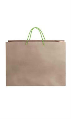 Large Kraft Premium Folded Top Paper Bags Neon Green Rope Handles