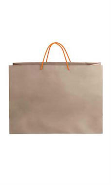 Large Kraft Premium Folded Top Paper Bags Orange Rope Handles