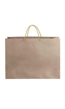 Large Kraft Premium Folded Top Paper Bags Light Gold Rope Handles