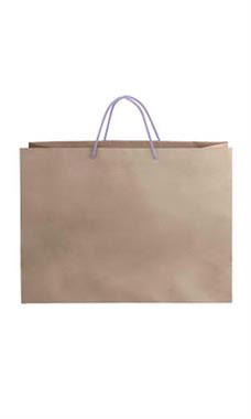 Large Kraft Premium Folded Top Paper Bags Purple Rope Handles
