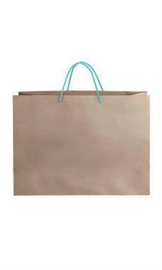 Large Kraft Premium Folded Top Paper Bags Turquoise Rope Handles