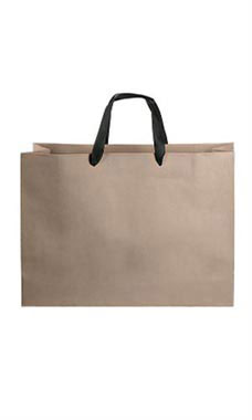 Large Kraft Premium Folded Top Paper Bags Black Ribbon Handles