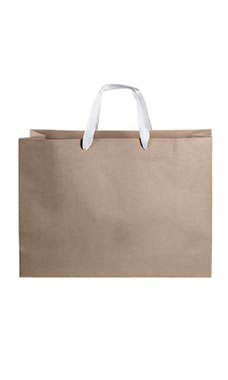 Large Kraft Premium Folded Top Paper Bags White Ribbon Handles