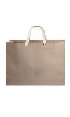 Large Kraft Premium Folded Top Paper Bags Ivory Ribbon Handles