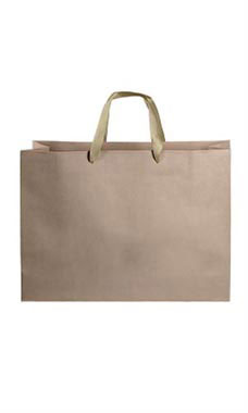 Large Kraft Premium Folded Top Paper Bags Gold Ribbon Handles