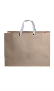 Large Kraft Premium Folded Top Paper Bags Silver Ribbon Handles