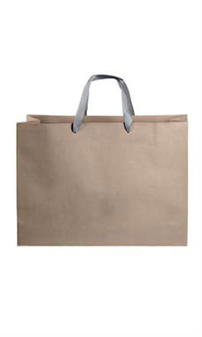 Large Kraft Premium Folded Top Paper Bags Dark Gray Ribbon Handles