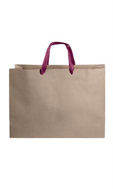 Large Kraft Premium Folded Top Paper Bags Maroon Ribbon Handles