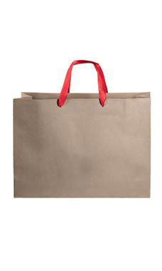 Large Kraft Premium Folded Top Paper Bags Red Ribbon Handles