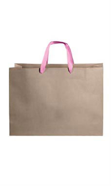 Large Kraft Premium Folded Top Paper Bags Light Pink Ribbon Handles