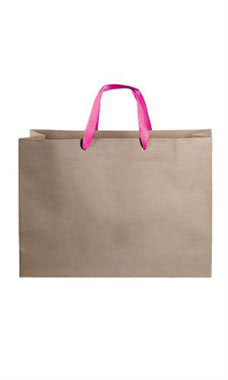 Large Kraft Premium Folded Top Paper Bags Hot Pink Ribbon Handles