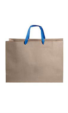 Large Kraft Premium Folded Top Paper Bags Royal Blue Ribbon Handles