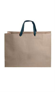 Large Kraft Premium Folded Top Paper Bags Navy Ribbon Handles