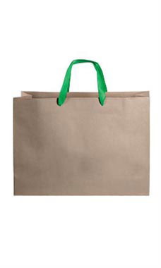 Large Kraft Premium Folded Top Paper Bags Kelly Green Ribbon Handles