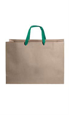 Large Kraft Premium Folded Top Paper Bags Dark Green Ribbon Handles
