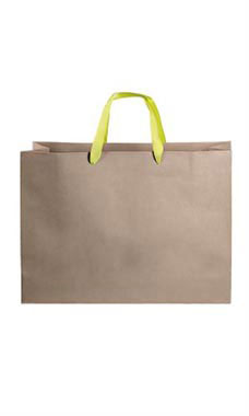 Large Kraft Premium Folded Top Paper Bags Yellow Ribbon Handles