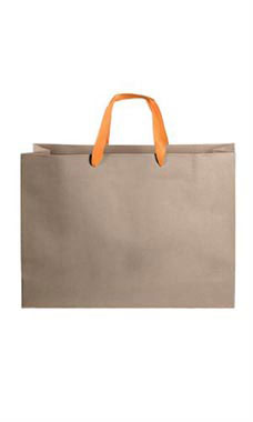 Large Kraft Premium Folded Top Paper Bags Orange Ribbon Handles