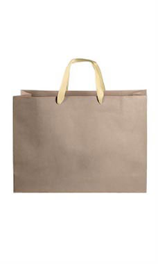 Large Kraft Premium Folded Top Paper Bags Light Gold Ribbon Handles