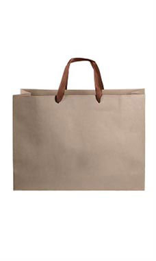 Large Kraft Premium Folded Top Paper Bags Brown Ribbon Handles