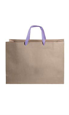Large Kraft Premium Folded Top Paper Bags Purple Ribbon Handles