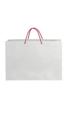 Large White on Kraft Premium Folded Top Paper Bags Red Rope Handles