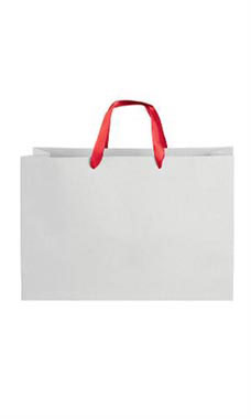 Large White on Kraft Premium Folded Top Paper Bags Red Ribbon Handles