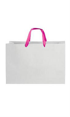Large White on Kraft Premium Folded Top Paper Bags Hot Pink Ribbon Handles