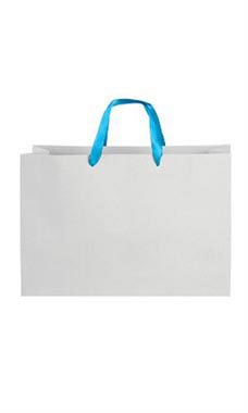 Large White on Kraft Premium Folded Top Paper Bags Light Blue Ribbon Handles