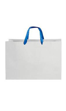 Large White on Kraft Premium Folded Top Paper Bags Royal Blue Ribbon Handles