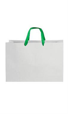 Large White on Kraft Premium Folded Top Paper Bags Kelly Green Ribbon Handles