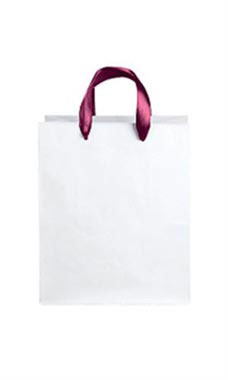 Medium White Premium Folded Top Paper Bags Maroon Ribbon Handles